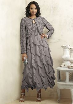 NEW WOMANS SIZE 14 SHAMELLE BEADED RUFFLE JACKET DRESS SILVER by ASHRO