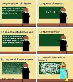 Spanish jokes for kids. Also a good way to see the direct object in action. Math Jokes, Math Humor, Funny Jokes, Hilarious, Funny Images, Funny Pictures, Quotes Images, Haha, Spanish Jokes