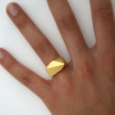 Faceted gold ring #geometric