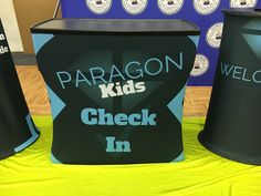Paragon Church, Grinnell IA uses this rolling case that with an added wrapper transforms into a check-in Counter.