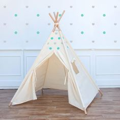 Teepee and wall stickers mint grey dots style
