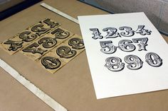 Handcut lino numbers, how gorgeous!