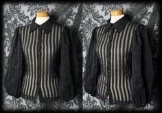Gothic Dramatic Black Sheer POSSESSION Candy Stripe Blouse 14 16 Vintage
