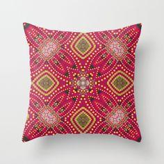 Red Gold Geo Exotica Throw Pillow by Webgrrl • #home #decor #cushions #pillows