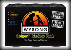 Epigen Canned Diets (formerly Au Jus) are premium 95+% meat pet foods designed to mimic the archetypal, natural eating patterns of our carnivorous companion animals (dogs, cats and ferrets). One of the few natural canned pet diets on the market that is truly genetically appropriate, and devoid of all the modern conventional pet food filler ingredients and additives, including starch ingredients!