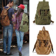 new Vintage Womens mens Canvas Rucksack Backpack satchel bag bookbags geen khaki | eBay