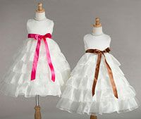 Flower Girl Dress Style 882- Ivory Satin and Organza Dress with Ruffle Skirt in Choice of Color