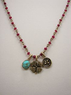 Lucky Brand Clover Turquoise Charm Raspberry Bead Gold Tone Necklace MSRP $35  #LuckyBrand #ChainCharm Only $26.99 with free shipping!