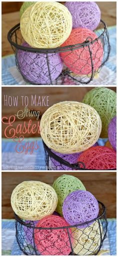 How to Make String Easter Eggs - an easy Easter DIY craft   #stringeastereggs #eastereggcrafts #eastercrafts #easterdiy #adventuresofadiymom