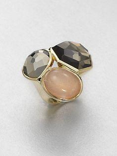 IPPOLITA - Rock Candy Gelato Campagna Peach Moonstone, Pyrite, Clear Quartz & 18K Yellow Gold Three-Stone Ring