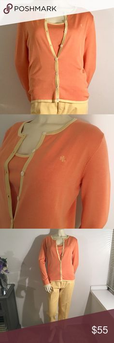LAUREN by Ralph Lauren button up & tank!! Worn once! Tank and button up duo!! Add the capri's with it! Great summer outfit!! Size Large. 83% silk, 15% nylon, 2% spandex!! Lauren Ralph Lauren Tops Camisoles