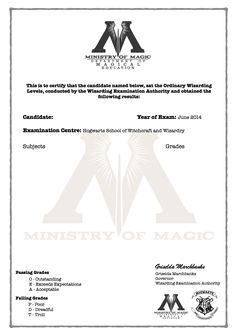 Harry Potter O.W.L's Certificate blank template!