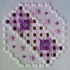 Fabric: 22ct Hardanger<br />Threads: DMC perle #5 & #8 (White, 350, 352)