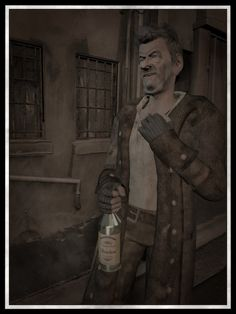 """Zadok Allen """"... the half-crazed, liquorish nonagenarian whose tales of old Innsmouth and its shadow were so hideous and incredible.""""  Artwork by Jon Cape."""