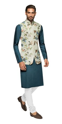 Perfect for a family wedding or festive holiday, our Locarno Nehru Vest throws caution to the wind and speaks out loud. Wedding Kurta For Men, Wedding Dresses Men Indian, Wedding Dress Men, Wedding Outfits, Indian Formal Wear, Indian Groom Wear, Green Suit Men, Mens Traditional Wear, Kurta Pajama Men
