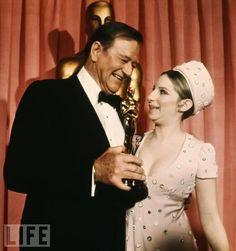 "4/11/14  2:37p  The Academy Awards Ceremony 1970:   John Wayne  Best Actor  Oscar for ""True Grit""        Presenter:  Barbra Streisand  1969"