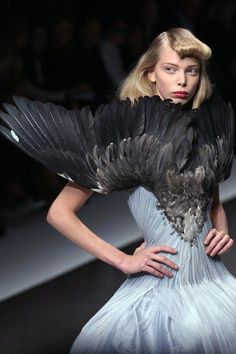 "Alexander McQueen - Seriously??? Looks like roadkill !!! Second only to Lady Gaga's ""meat dress""...."