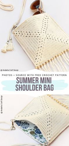 Summer Mini Shoulder Bag Free Crochet Pattern This small bag will be perfect for your summer essentials. Add some details like tassels and beads for that boho style. # knitting skirt pattern free for women Romantic Lacy Bags Free Crochet Patterns Knitting Projects, Crochet Projects, Knitting Patterns, Crochet Ideas, Crochet Tutorials, Knitting Ideas, Sweater Patterns, Blanket Patterns, Bag Patterns
