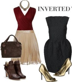 styles for inverted triangle body shape Inverted Triangle Body Shape, Inverted Triangle Outfits, V Shape Body, Body Shapes, Capsule Wardrobe, Body Type Clothes, Dressing Your Body Type, Estilo Hippy, Modelos Plus Size