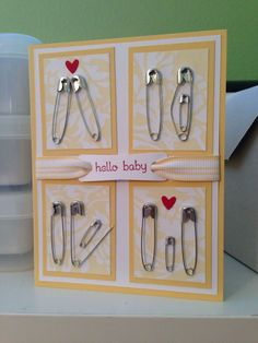 Safety pin baby card                                                                                                                                                                                 Más