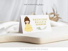 Printable Beauty & The Beast Cards, Editable Princess Belle Tented Food Labels, Print at Home Princess Party Decor, 0113 by ThePaperFoxStudioZA on Etsy Princess Belle Party, Princess Party Decorations, Photo Frame Prop, Beauty And The Beast Party, Cinderella Birthday, Custom Stationery, Backdrops For Parties, Printable Invitations, Birthday Party Invitations