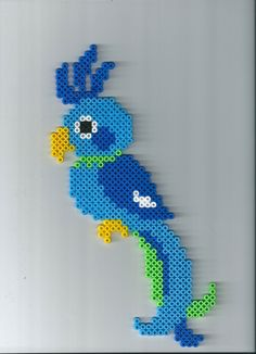 Macaw Blue – This model requires 1 large square plate – Perlenstickerei – Hama Beads Melty Bead Patterns, Perler Patterns, Beading Patterns, Hama Beads, Fuse Beads, Diy For Kids, Crafts For Kids, Arts And Crafts, Paper Crafts