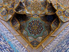 Ceiling of the Charbagh Theological School. Isfahan - Iran