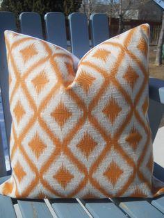 Last ones---Decorative Ikat Diamond pattern Mango orange and cream 16 by 20 inch lumbar accent throw pillow cover