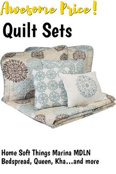 Home Soft Things Marina MDLN Bedspread, Queen, Khaki/Blue/Brown ... (This is an affiliate link) #quiltsets
