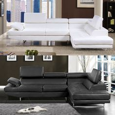 Emma Contemporary Style Bonded Leather Sectional
