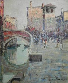 "Venice Landscape - Giuseppe ""Bepi"" Marino - ""the crooked bridge"""