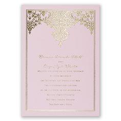 demure damask - pink   gold foil wedding invitations   custom wedding invites at Invitations By Dawn