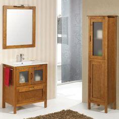 Mueble de baño rústico LEÓN con patas 70 cm teka con LAVABO 9535 Bathroom Vanity, Vanity, Bathroom, Ideas Para