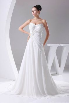 Ruched A-line V Neckline Lace Applique White Chiffon Wedding Dress Beach Bridal Gown