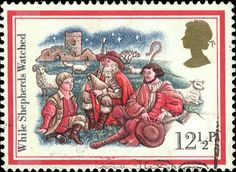 A pretty English Christmas stamp, reflecting an old tradition (still alive in Italy - see stamp no. 25) that a piper was present at the birth of Christ. This stamp kindly contributed by Sean Stewart, of England.