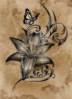 Lovely Lilly flower with butterfly tattoo design