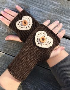 Valentines Day Knit fingerless gloves with by WendysWonders127