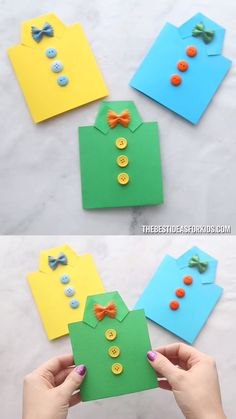 FATHER'S DAY SHIRT CARD - such an easy Father's dat craft for kids! A great diy father's day card! Preschool and kindergarten kids will love to make it too! perfect fathers day gift, ideas for fathers day crafts, fathers birthday gifts ideas Kids Crafts, Kids Fathers Day Crafts, Fathers Day Art, Diy Crafts Videos, Preschool Crafts, Craft Projects, Fathers Dat, Fathers Day Shirts, Craft Ideas