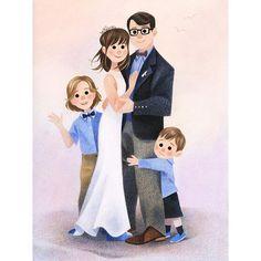 Voici un nouveau portrait de famille. N'hésitez pas à me contacter si vous souhaitez offrir un cadeau sur mesure. Il me reste encore quelques disponibilités pour une livraison avant Noël! ***** I still have a few availabilities if you wish a custom illustration just in time for Christmas!