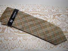 Venetto Men's Gold & Orange Neck Tie Polyester Plaid 3.75 Wide Tied Classic  #VenettoCollection #NeckTie
