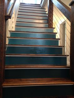 Blue Ombre Staircase With Dark Wood Stain & Modern Wire Cable