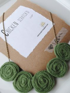 Fabric Flower Necklace- Green Rose Bib Necklace