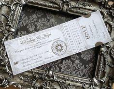 Custom Printable Steampunk Wedding Invitation Ticket 8.75 x 3 inch digital collage sheet VD0422