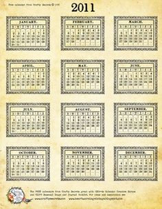 Free 2011 Calendar Download from Crafty Secrets