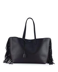 L0PEV Saint Laurent Fringed Large Leather Shopper Tote Bag