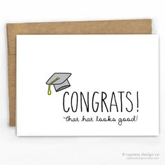 funny graduation card congrats card that hat looks good by cypress card co