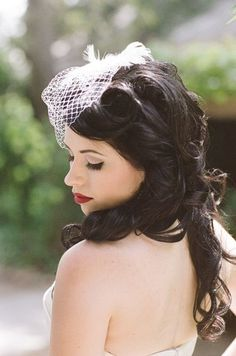 beautiful hairstyle and love this birdcage veil! can my hair please be that long and gorgeous?