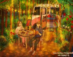 ♥ CAMPING ~ In the woods we sip our tea. ♥ by Puuung at http://www.grafolio.com/works/170804&from=cr_fd&folderNo=6861 ♥