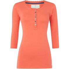 Brakeburn Ribbed button up top ($43) ❤ liked on Polyvore featuring tops, coral and women