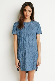 Diamond-Stitched Denim Dress. Far too short for a dress! But I love the diamond stitched denim. I wonder if I could wear it as a tunic over black skinny jeans?